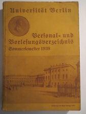 Berlin - Universität Berlin - Vorlesungsverzeichnis - SS 1938 / Studentika