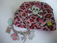 PINK COOKIE TRUE LOVE FOREVER, hearts flower bird  5 CHARM BRACELET & PURSE new