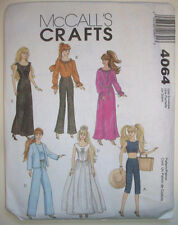 """McCall's 4064 Pattern 6 Fashion Outfits for 11 1/2"""" Barbie Doll New OOP"""