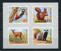Switzerland 2018 MNH Forest Animals Badgers Deer 4v S/A Set Birds Stamps