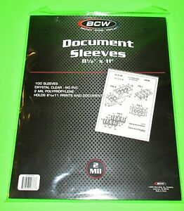 """100 8-1/2""""x11"""" DOCUMENT / PRINT SLEEVES-CLEAR-ARCHIVAL SAFE-ACID FREE-2 MIL"""