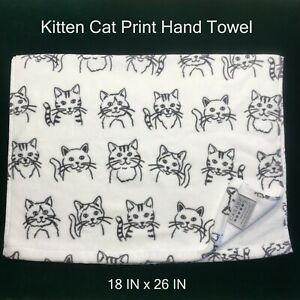 "New CASABA Kitty Cats Kittens White Gray Hand Towel 100% Cotton NWOT 18"" x 26"""