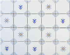Blue White and Yellow Delft Style Country French Kitchen Tiles