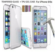 Tempered Glass+ Slim Rubber Soft Clear TPU Gel Jelly Case for Apple iPhone 6/6S