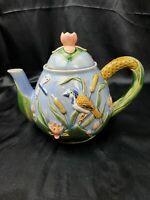 "Majolica Teapot Colorful Birds Flowers Butterflies Porcelain Pottery 8"""