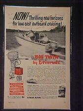 OLD VINTAGE ~EVINRUDE FISHING BOAT OUTBOARD MOTOR ART PRINT AD~ORIG ANTIQUE 1951