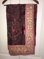 Elegant Purple-Mauve Floral Patterned Sari with Blouse - Fancy Wear