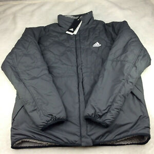 Adidas Reversible Quilted Sherpa Grey Jacket GF0051 Full Zip Men's Size L
