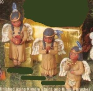 ~Kimple Ceramic Bisque set of 3 Indian Angels 2 Girl 1 Boy Ready to Paint~