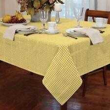 """petit carreau jaune blanc rond 60"""" 152cm table tissu"""