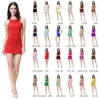 Sexy Women Bodycon Camisole Strech Sleeveless Strap Slip Short Mini Skirt Dress