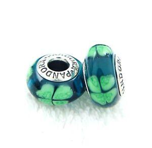 2 PANDORA Silver 925 ALE Murano Charm Green Four-Leaf Clover Lucky Beads #042