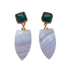 Natural Blue Chalcedony Green Agate Stud Earrings
