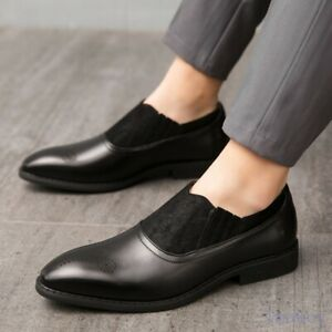 Size38-46 Mens Round Toe Formal Oxfords Slip On Pumps Carving Dress Casual Shoes