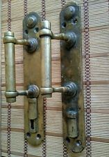 Two brass door handles with keyhole. Large antique door handle. Antique bronze.