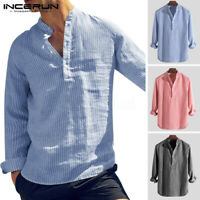 UK Mens Collarless Grandad Striped Shirt Party Hippy Slim Henley Tops Causal Tee