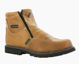 Mens Light Brown Work Boots Rubber Sole Slip Resistant Shoes Zip Up
