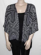 INC International Concepts Plus Size 1X BLACK Fringed Kimono Sleeve Cardigan NEW