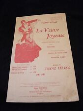 Partition La veuve joyeuse Franz Lehar Music Sheet