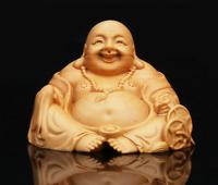 Chinese Box-wood Hand Carving Buddhism Happy Laugh Maitreya Buddha Wealth Statue