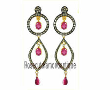 925% Ruby Victorian Dangle Style Earrings 2.04ct Antique Rose Cut Diamond Silver