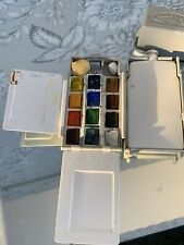 Vintage Winsor & Newton Travel / Field / Whisky / Water Carrier Palette 12 Paint