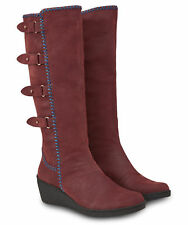 Joe Browns Womens Buckle Sides Wedge Boots Burgundy A 8