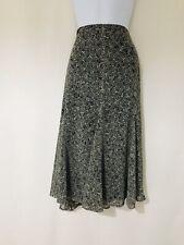 M&S Long Skirt Size 18 Light Weight Slimming Grey Black Floaty Flare Sheer