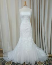 NEW Justin Alexander Sincerity Bridal Mermaid Gown Lace 3776 Wedding Dress White