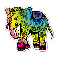 Flowery Rainbow Elephant Sticker Decal Stickers Pet Art Laptop #6390EN