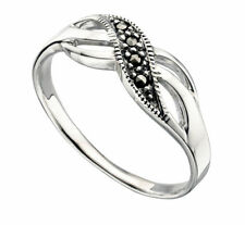 Marcasite Cocktail Round Sterling Silver Fine Rings