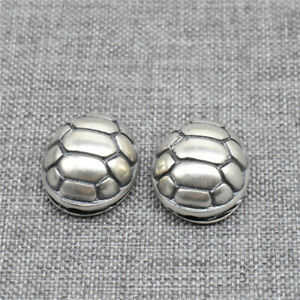 925 Sterling Silver Oxidized Turtle Shell Bead 3D for Ocean Bracelet Necklace