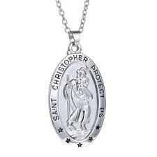 "Religious Silver Engraved ""Saint Christopher Protect Us"" Saint Pendant Necklace"