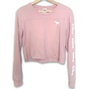 Pink Crew Neck Arm Logo Crop Top size small