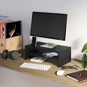 2 Tier Computer Monitor Stand Display PC/TV Screen Riser Desk Shelf Phone Slot