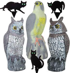 Large Owl Falcon Cat Decoy Prey Bird Repellent Garden Pest Control Deterrent