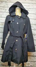 NWT Womens LONDON FOG Trench rain dress Coat Pea Coat Jacket British Black XXL