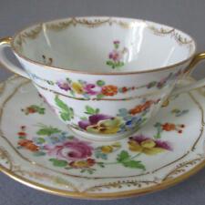 Antique DRESDEN Porcelain HP Cream Soup BOUILLON + Saucer Colorful FLOWERS Klemm