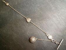 Antique Victorian Hallmarked Solid Silver Albertina ou Albert Poche Montre Chaîne