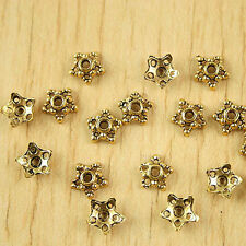 100pcs dark gold-tone flower dotted beads caps h1344