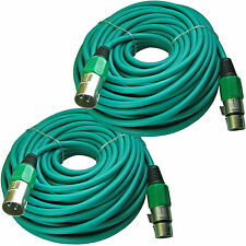 Pair of 100 ft foot 30m meter lead MALE to FEMALE 3pin XLR powered speaker cable