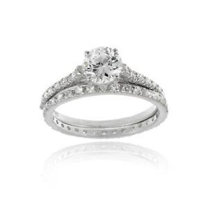 925 Silver Round CZ Bridal Engagement Ring Set Size 6