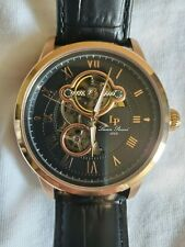 lucien piccard dress watch rose gold skeleton automatic