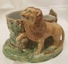 Antique and rare Russian Empire KUZNETSOV porcelainfigurine Lion Match Holder