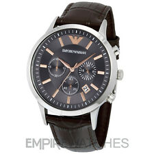 *NEW* MENS EMPORIO ARMANI BROWN ROSE GOLD CHRONO WATCH - AR2513 - RRP £259.00