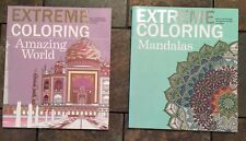 Lot Of 2 New Amazing World, Mandalas Extreme Adult Coloring Books Brnd New Relax