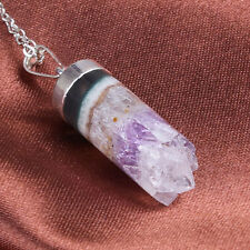 Natural Amethyst Druzy Quartz Crystal Cylindrical Stone Pendant Necklace Jewelry