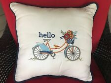 Sunbrella Indoor/Outdoor Accent Pillow Hello Bicycle NEW NWT