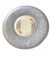 Forged Hammered Aluminum Tray/plate Hand Wrought W/porcelain Floral Plate