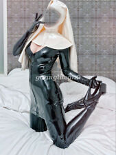 New 100%Latex Rubber Cosplay Nun Costumes Skirt Fancy Ball Drees XXS-XXL